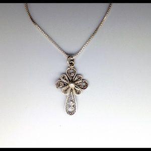 Vintage Filigree Cross Pendant Silver Necklace